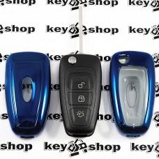Чехол (синий, полиуретановый) для выкидного ключа Ford (Форд), кнопки с защитой