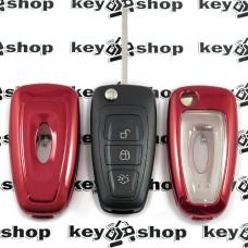 Чехол (красный, полиуретановый) для выкидного ключа Ford (Форд), кнопки с защитой