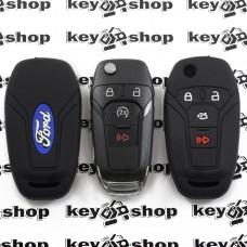 Чехол (черный, силиконовый) для смарт ключа Ford (Форд) 3 + 1 кнопки