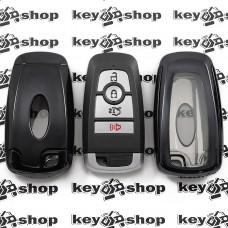 Чехол (черный, полиуретановый) для смарт ключа Ford (Форд), кнопки с защитой