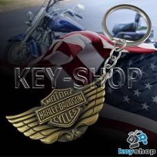 Металлический брелок для ключей с логотипом Harley - Davison (Харли - Дэвидсон) с крыльями