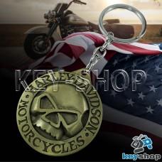 Металлический брелок для ключей с логотипом Harley - Davison (Харли - Дэвидсон) с черепом