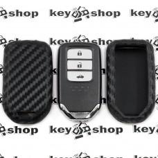 Чехол (cиликоновый, под карбон) для смарт ключа Honda (Хонда)