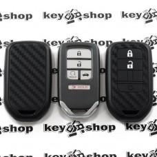 Чехол (cиликоновый, под карбон) для смарт ключа Honda (Хонда) 4+1 кнопка