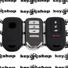 Чехол (черный, силиконовый) для смарт ключа Honda (Хонда) 3 + 1 кнопки