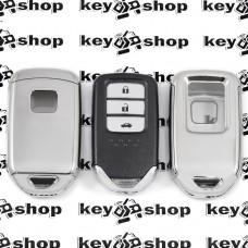 Чехол (серебристый, полиуретановый) для смарт ключа Honda (Хонда) кнопки с защитой