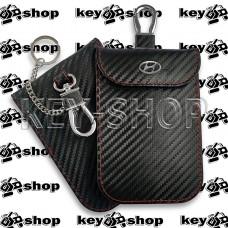 Чехол Фарадея, антисканер, противоугонный чехол Hyundai (Хундай) (кожаный, под карбон, черный, на липучке, с карабином, с кольцом)