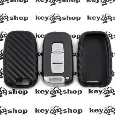 Чехол (cиликоновый, под карбон) для смарт ключа Hyundai (Хундай)
