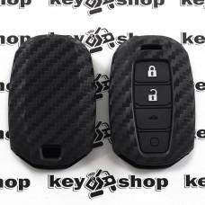 Чехол (силиконовый, под карбон) для выкидного ключа Hyundai (Хундай) 4 кнопки