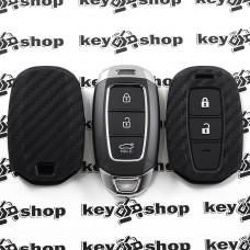 Чехол (силиконовый, под карбон) для выкидного ключа Hyundai (Хундай) 3 кнопки