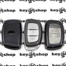 Чехол (черный, полиуретановый) для смарт ключа Hyundai (Хундай) кнопки с защитой