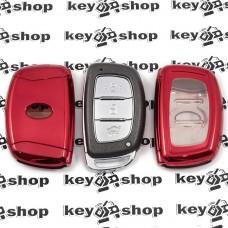 Чехол (красный, полиуретановый) для смарт ключа Hyundai (Хундай) кнопки с защитой