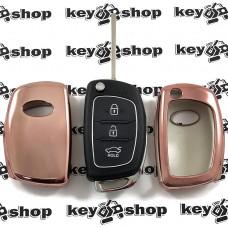 Чехол (бледно розовый, полиуретановый) для выкидного ключа Hyundai (Хундай) кнопки без защиты