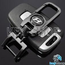 Брелок для ключа Hyundai (Хундай), (темный хром), с карабином