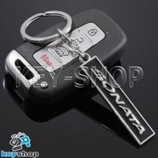 Металлический (черный) брелок для авто ключей Hyundai Sonata (Хундай Соната)