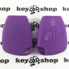 Чехол (фиолетовый, силиконовый) для смарт ключа Mercedes (Мерседес) 3 кнопки