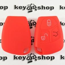 Чехол (красный, силиконовый) для смарт ключа Mercedes (Мерседес) 3 кнопки