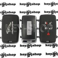 Чехол (черный, силиконовый) для смарт ключа Jaguar (Ягуар) 4 + 1 кнопок