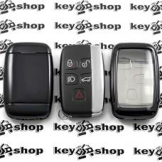 Чехол (черный, полиуретановый) для смарт ключа Jaguar (Ягуар), кнопки с защитой