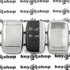 Чехол (серебристый, полиуретановый) для смарт ключа Jaguar (Ягуар), кнопки с защитой