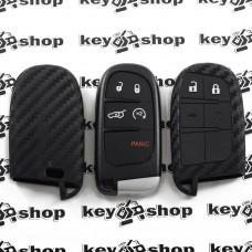 Чехол (силиконовый, под карбон) для смарт ключа Jeep, Dodge, Chrysler (Джип, Додж, Крайслер) 4 + 1 кнопки