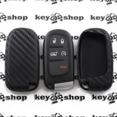Чехол (силиконовый, под карбон) для смарт ключа Jeep, Dodge, Chrysler (Джип, Додж, Крайслер)
