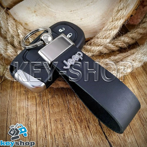 Брелок для авто ключей Jeep (Джип) кожаный (черный, широкий) с хромированной фурнитурой