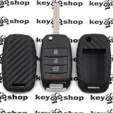 Чехол (силиконовый, под карбон) для выкидного ключа KIA (КИА) 4 кнопки