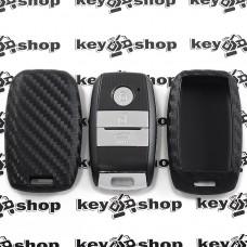 Чехол (силиконовый, под карбон) для смарт ключа KIA (КИА) 3 кнопки