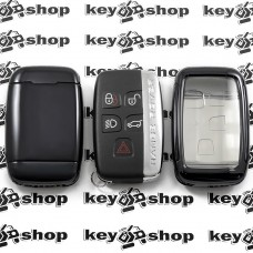Чехол (черный, полиуретановый) для смарт ключа Land Rover (Ленд Ровер), кнопки с защитой