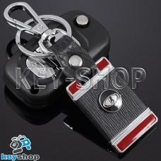 Металлический брелок с кожаными вставками для авто ключей Lada (Лада) (красный)
