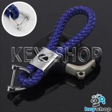Кожаный плетеный (синий) брелок для авто ключей LEXUS (Лексус)