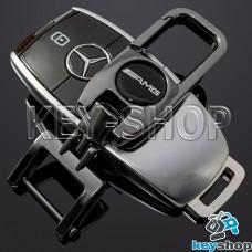 Брелок для ключа Mercedes AMG (Мерседес AMG), (темный хром), с карабином