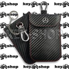 Чехол Фарадея, антисканер, противоугонный чехол Mercedes (Мерседес) (кожаный, под карбон, черный, на липучке, с карабином, с кольцом)