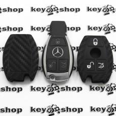 Чехол (силиконовый, под карбон) для смарт ключа Мерседес (Mercedes) 3 кнопки