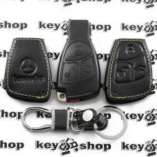 Чехол (кожаный, черная рыбка) для смарт ключа Mercedes (Мерседес) 3 кнопки