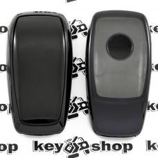 Чехол (черный, полиуретановый) для смарт ключа Mercedes (Мерседес), кнопки с защитой