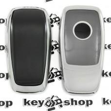 Чехол (серебристый, полиуретановый) для смарт ключа Mercedes (Мерседес), кнопки с защитой