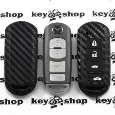 Чехол (силиконовый, под карбон) для смарт ключа Mazda (Мазда) 3 + 1 кнопки