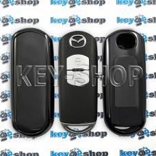 Чехол на смарт ключ Mazda (Мазда), (черный, полиуретановый), кнопки с защитой