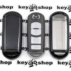 Чехол (черный, полиуретановый) для смарт ключа Mazda (Мазда), кнопки с защитой