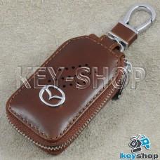 Ключница карманная (кожаная, коричневая, с карабином, на молнии, с кольцом), логотип авто Mazda (Мазда)