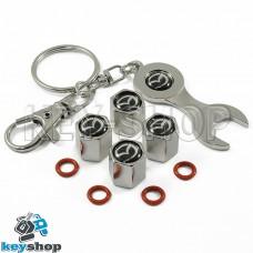 Набор колпачков для ниппеля (хромированные) с логотипом Mazda (Мазда)