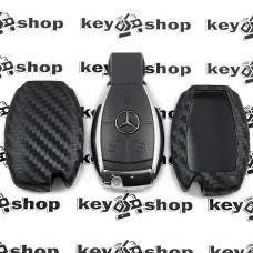 Чехол (силиконовый, под карбон) для смарт ключа Мерседес (Mercedes)