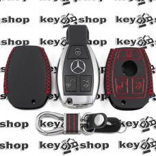 Кожаный чехол (с красной строчкой), для смарт ключа Mercedes (Мерседес) 3 кнопки