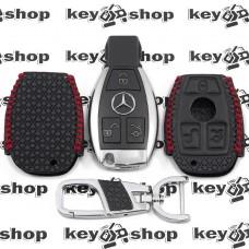 Кожаный чехол (с красной строчкой, с тиснением), для смарт ключа Mercedes (Мерседес) 3 кнопки