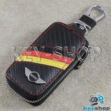 Ключница карманная (кожаная, черная, под карбон на молнии, с карабином, с кольцом), логотип авто Mini (Мини)
