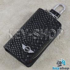 "Ключница карманная (черная, ""змеиная кожа"", на молнии, с карабином, с кольцом), логотип авто Mini (Мини)"