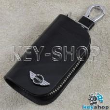 Ключница карманная (кожаная, черная, с узором, на молнии, с карабином, с кольцом), логотип авто Mini (Мини)
