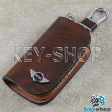 Ключница карманная (кожаная, коричневая, с узором, на молнии, с карабином, с кольцом), логотип авто Mini (Мини)